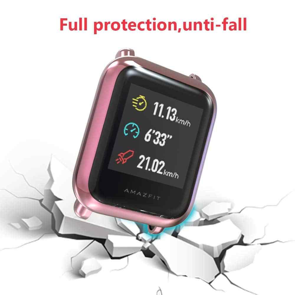 Für Huami Amazfit Schirm-schutz Schlank Bunte Rahmen TPU Fall Abdeckung Schützen Shell Bip Younth Uhr mit Screen Protector