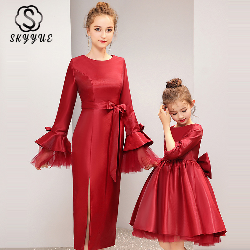 Skyyue Mother-child Prom Dress FB156 Red Bow Vestidos De Fiesta O-Neck Long Sleeve Formal Party Dresses For Mom And Daughter