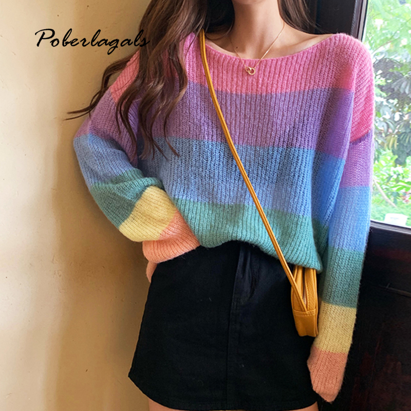 Autumn Winter Knitted Rainbow Striped Sweater Female 2019 Korean Knit Pullovers Bottom Long Sleeve Shirt Ladies Sweater Pullover