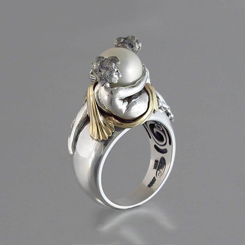 Casal amante redondo pérola anel de prata cor casamento banda vintage anéis de noivado para presente feminino moda jóias anillos d5t618