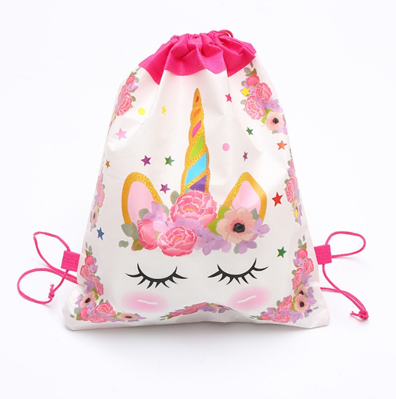1pcs Angel Unicorn Non-woven Bag Fabric Backpack Child Travel School Bag Decoration Mochila Drawstring Gift Bag
