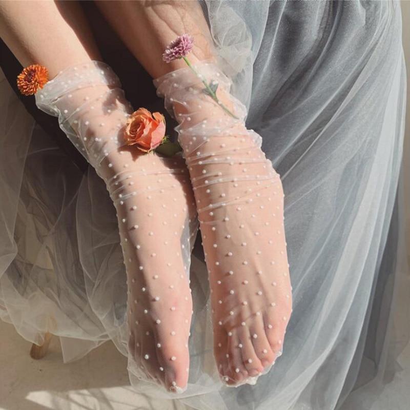 Summer Dot Tulle Socks Women Transparent Ultra-thin Long Socks Polka Dots Chiffon Funny Socks Femme Streetwear Calcetines Mujer
