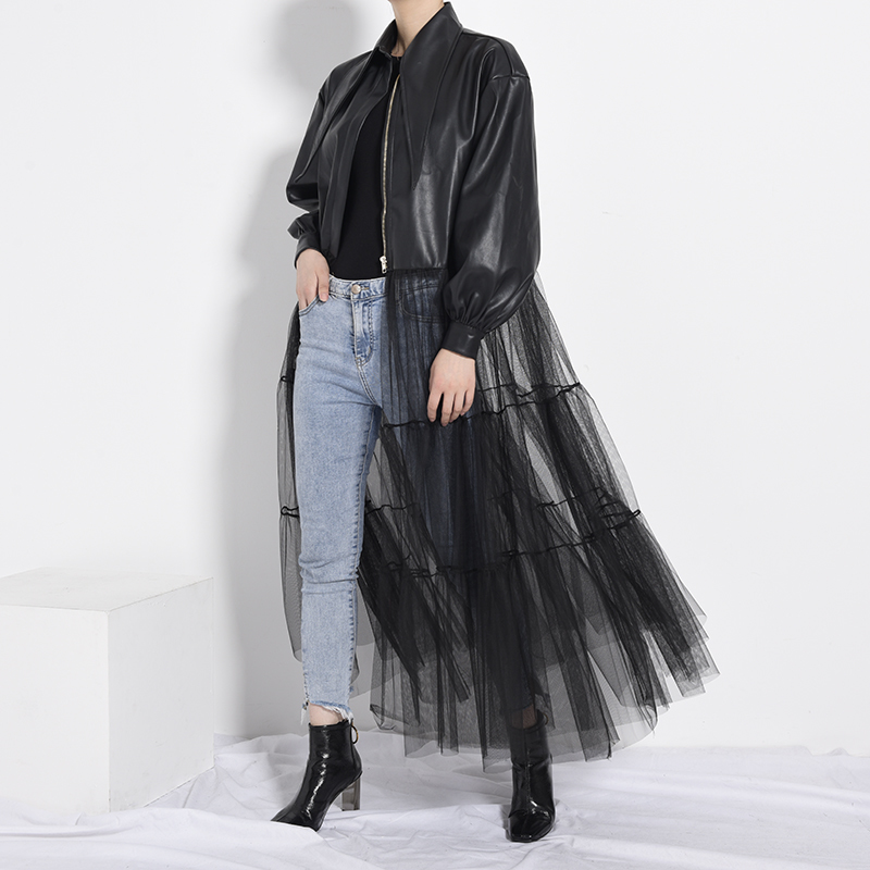 [EAM] Loose Fit Black Mesh Big Size Long Pu Leather Jacket New Lapel Long Sleeve Women Coat Fashion Spring Autumn 2020 PB27901 6