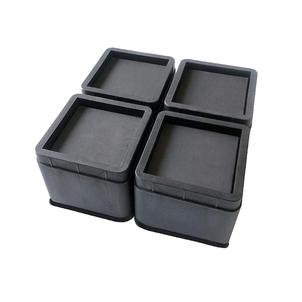 Durable ABS Plastic 4pcs Black Protecting Furniture Lift Blocks Leg Feet Furniture Risers For Table Wood Floor Bed Chair Supply