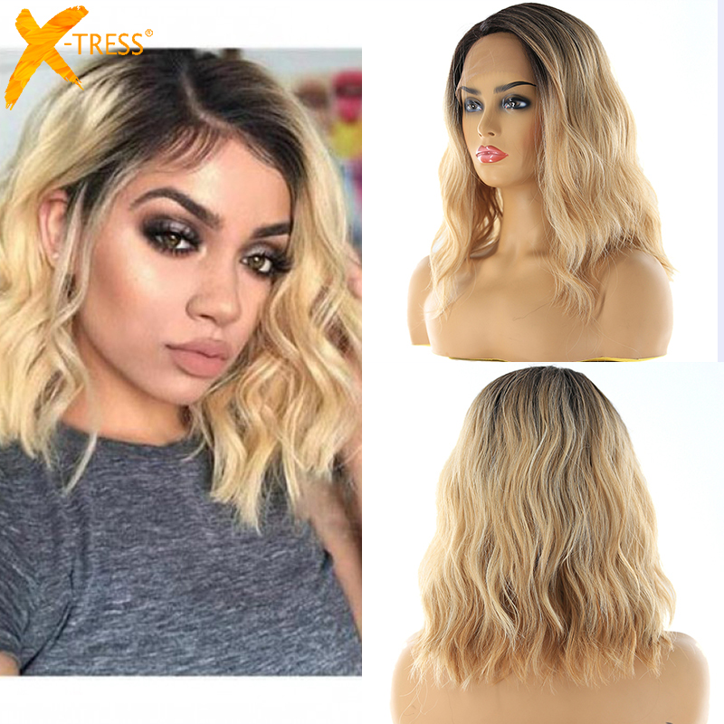 Blonde Ombre Color Lace Front Synthetic Wigs Shoulder Length Deep Invisible Side Part X-TRESS Natural Wave Short Bob Lace Wig