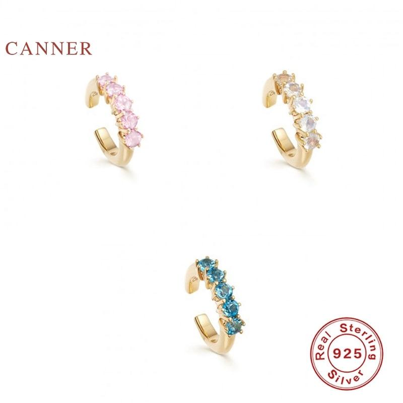 CANNER-Pendientes de plata de primera ley con forma de luna para mujer, aretes pequeños, plata esterlina 925, Circonia cúbica, zirconia, circonita, zirconita, estilo coreano