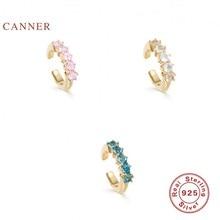 EINDOSER Regenbogen Mond Nicht Mainstream Ohrringe Für Frauen S925 Sterling Silber Clip Ohrring Zirkon Korean Edlen Schmuck Pendientes