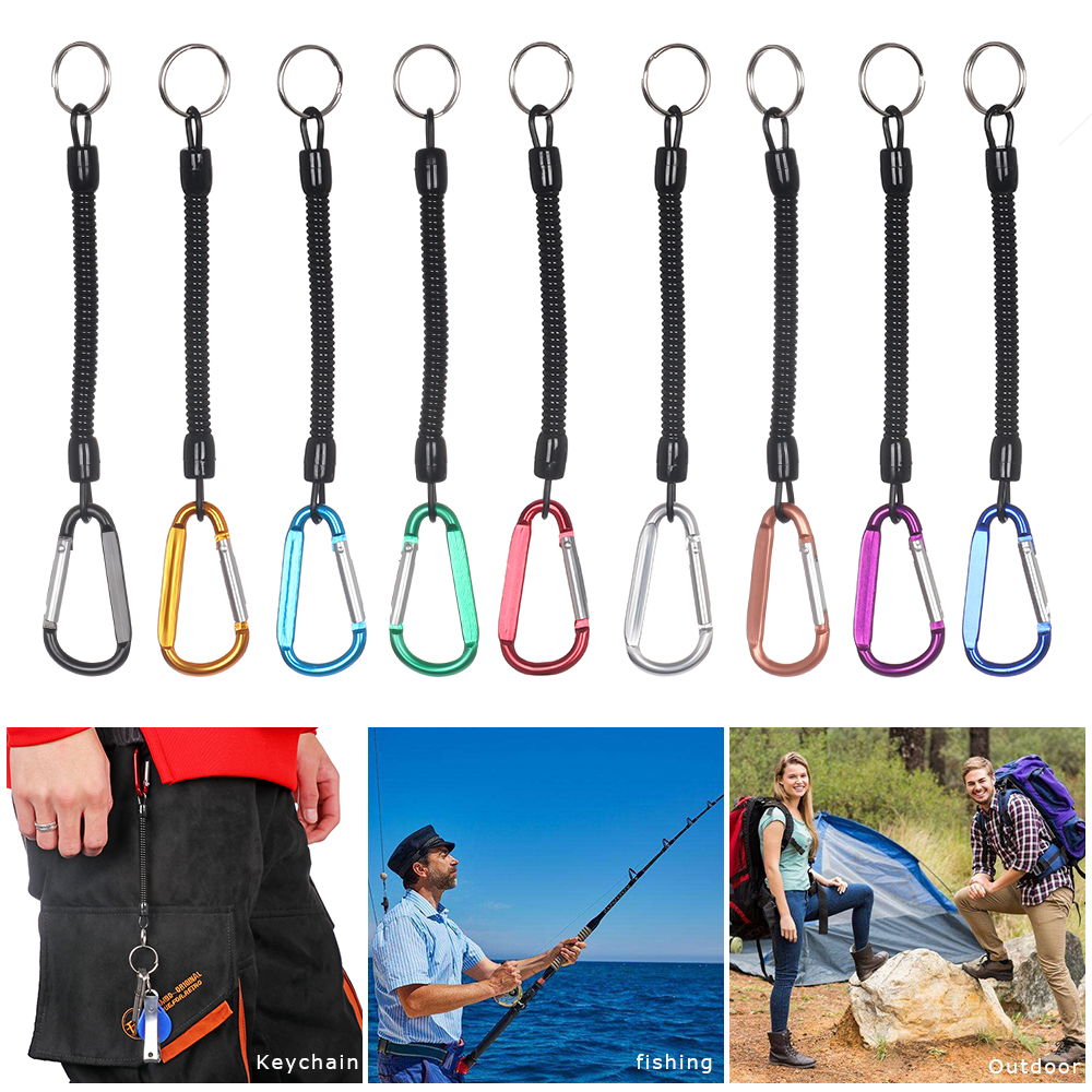 Tactical Retractable Spring Elastic Rope Security Gear Tool Anti-lost Phone Keychain Portable Fishing Lanyards Bag Accessories