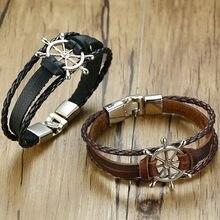 Vnox-Pulsera de cuerda de cuero multicapa con diseño de timón, pulsera masculina de 7,87
