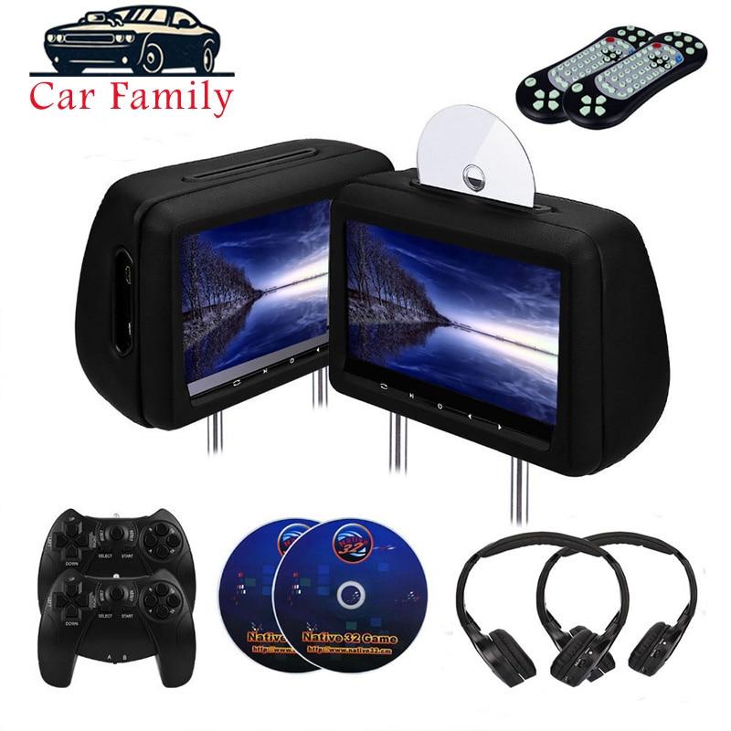2PCS 10.1 Inch Car Headrest Monitor DVD Video Player With FM/IR Transmitter/USB/SD/HDMI Port/Speaker/Game/Gamepad/control