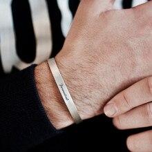 4mm a 8mm livre gravura manguito pulseira de aço inoxidável opable bangle nome personalizado feminino masculino jóias inspiradoras