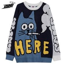 Мужской свитер в стиле хип-хоп в стиле Харадзюку, уличная одежда с забавным рисунком кота для курения, женский свитер, пуловер оверсайз, повс...