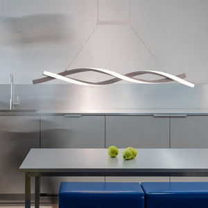 Image 4 - Matte Black or Grey Minimalist Modern Led Pendant Lights For Living Room Dining Kitchen Room Pendant Lamp Żyrandol Fixture