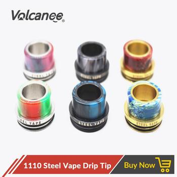 Volcanee 1110 Resin Drip Tip Stainless Steel Wide Bore for Petri 528 Goon Vape Tank fit 24MM RDA RDTA Atomizer E Cigarettes