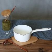 Enamel Pot Milk Pot Soup Pot Single Wooden Handle Leaves Pattern|Fondue Pots| |  -