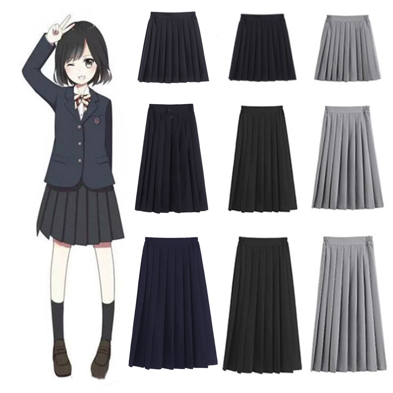 Women JK High School Uniforms Students Girls Harajuku Preppy Style Black High Waist Plus Size Pleated Skirt  5XL