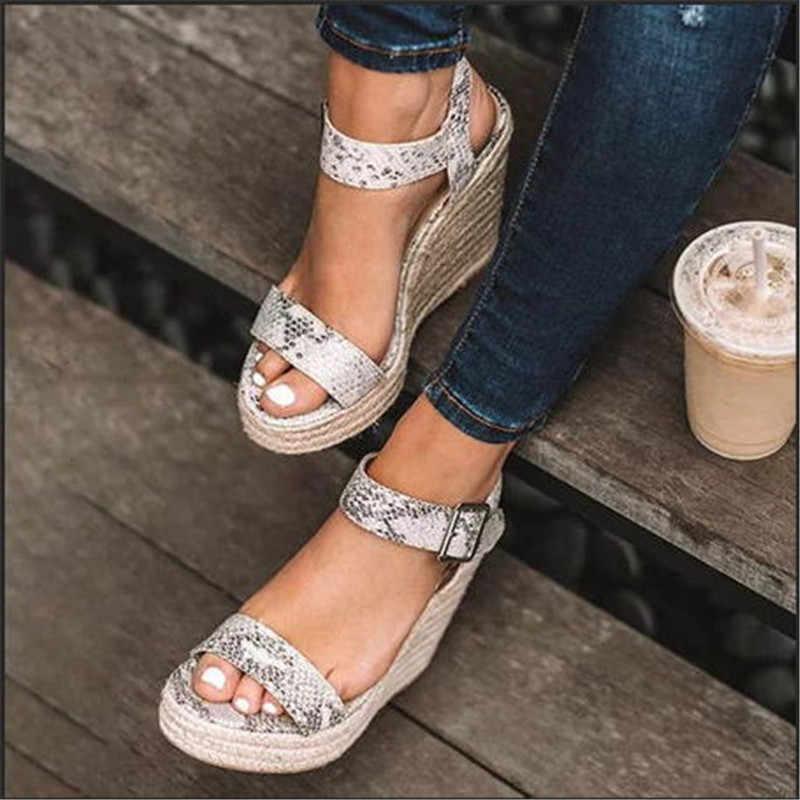 2020 Phụ Nữ Mới Giày Nền Tảng Dép Peep Cao Nêm Gót Ống Khóa Sandalia Espadrilles Giày Xăng Giày