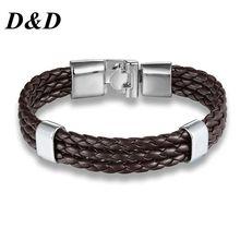 Прямой модный тканый кожаный браслет в Корейском стиле, простой мужской кожаный браслет, аксессуары оптом