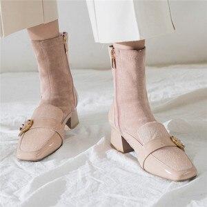 Image 5 - FEDONAS Kare Ayak Kadın Orta buzağı Botları Hakiki Deri Çizmeler Sıcak Bayanlar Çorap Çizmeler Zarif Parti Platformları Kış Ayakkabı kadın
