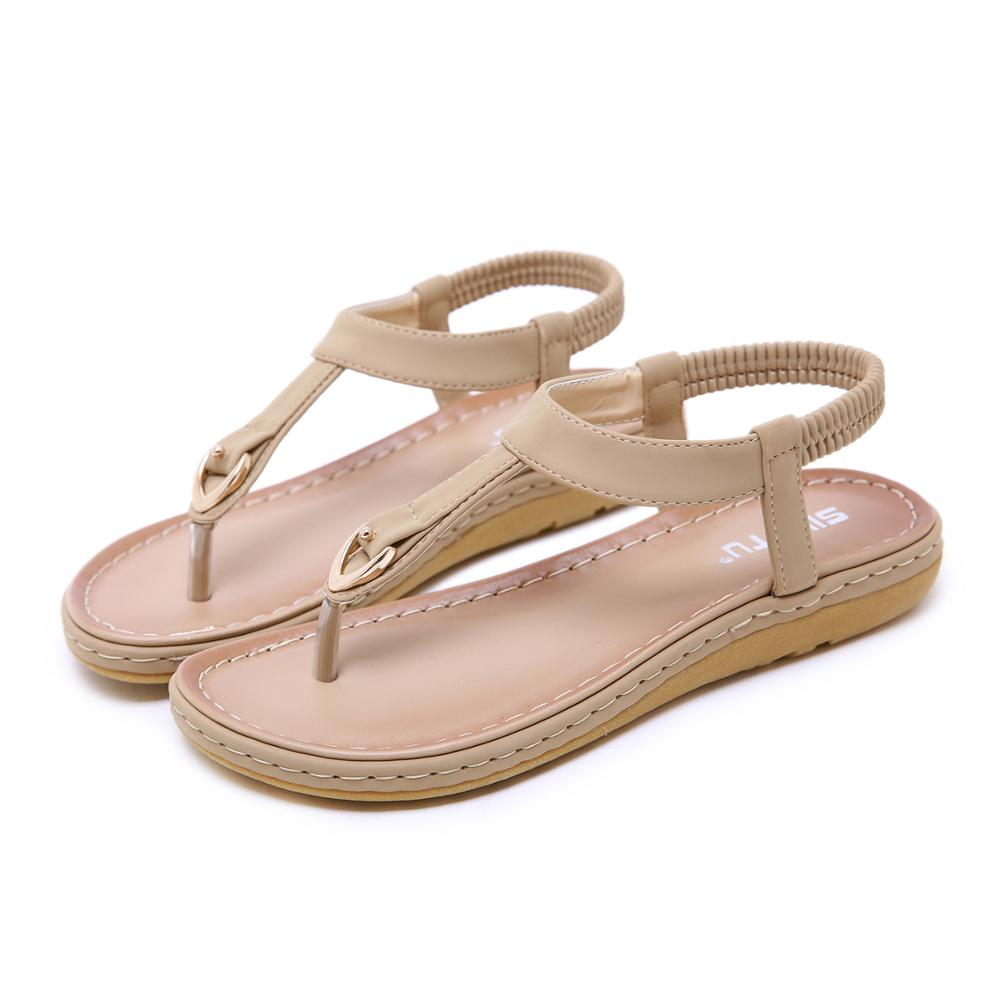 CINESDD 2020 Size 35-42 Summer Women Flat Beach Sandals Bohemia Sweet Sandals Clip Toe Flip Flops Woman zapatos mujer Shoes