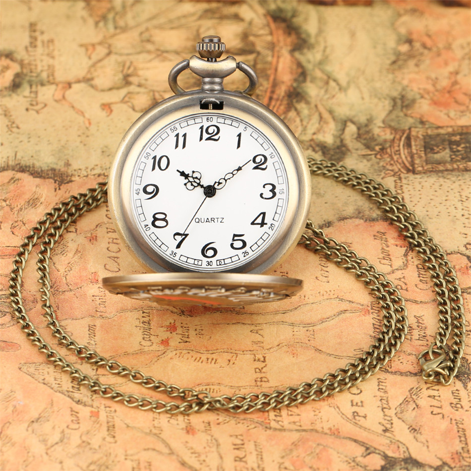 Vintage Old Man Design Quartz Pocket Watch Bronze Necklace Watch Exquisite Pendant Watches with Sweater Chain Xmas Gifts