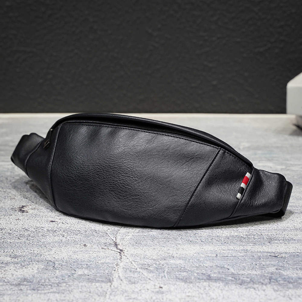 Fashion Leather Waist Bag For Men Fanny Pack Leather Belt Bag Waist Pack Bum Bag Money Belt Waist Pouch