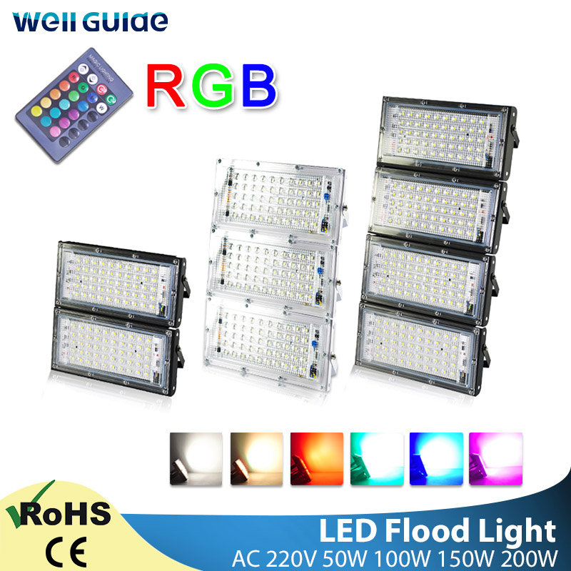 LED Flood Light 50W 100W RGB Outdoor Floodlight AC 220V Remote Control COB Chip LED Street Lamp Waterproof IP65 Outdoor Lighting