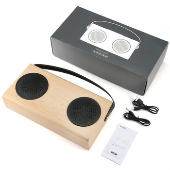 Wooden Speaker FM Radio MP3 Player Aux Portable Wireless 4000mah Rechargable Battery for Smartphone Tablet Computer