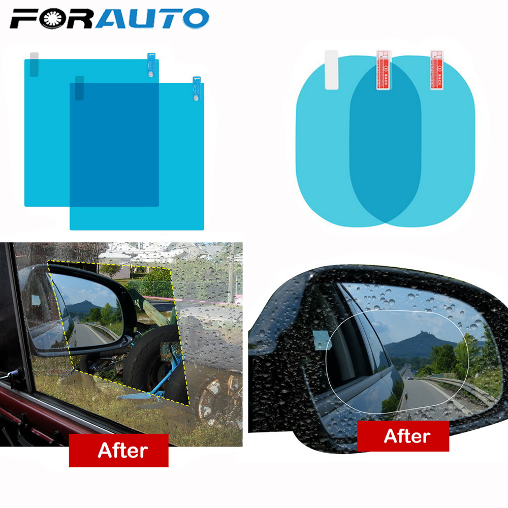 FORAUTO 2Pcs Car Mirror Window Clear Film Anti Fog Membrane Anti-Glare Waterproof Rainproof Car Sticker Auto Accessories