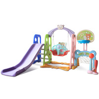 5 In1 Luxury Children Slide and Swing Chair Baby Indoor Plastic Colorful Slides Kids Playground Toy with Basketball Stand Music