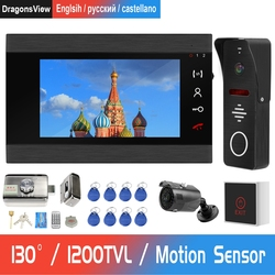 Przewodowy wideodomofon do domu zestaw systemu kontroli dostępu domofon z blokadą dzwonek 130 ° kamera zewnętrzna wykrywanie ruchu
