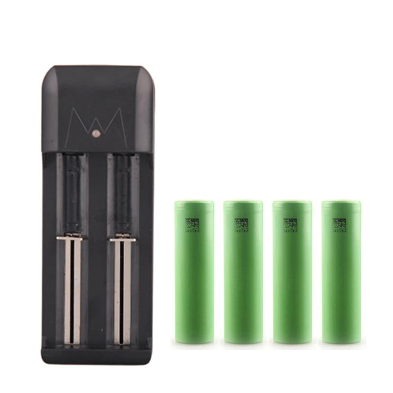 3,7 V 18650 Батарея VTC5 2600 мА/ч, 30A Перезаряжаемые батарея для вейпа для батарейные блоки электронных сигарет с EU/US вилка Зарядное устройство