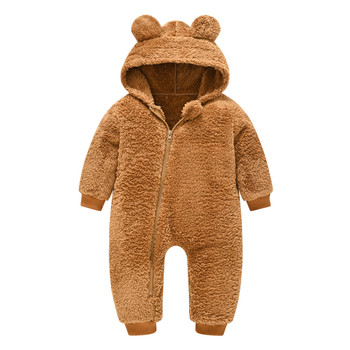 0-12m Baby Winter Clothes Newborn Baby Girls Boys Bear Warm Thick Snowsuit Hooded Coat Jumpsuit 6 Colors Baby Romper Long Sleeve iyeal newborn baby snowsuit children infant winter coat warm liner hooded zipper jumpsuit boys girls duck down outwear overalls