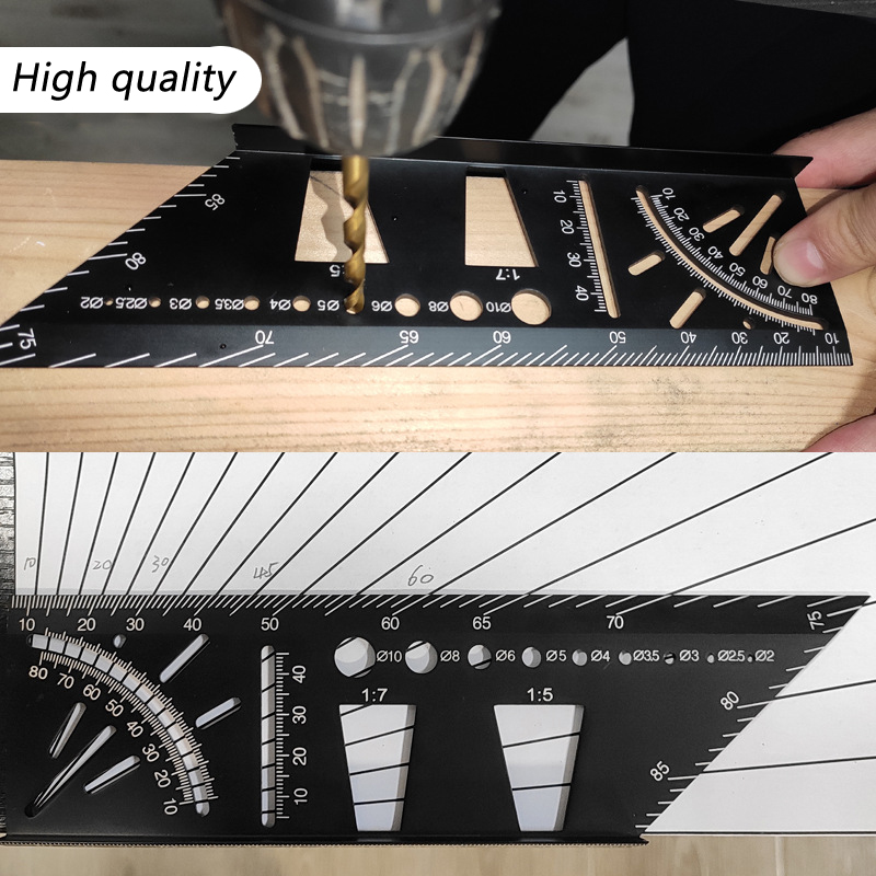 Woodworking Square Angle Ruler Multifunctional Angle Ruler 45 90 Degree Aluminum Alloy Accurate Marking Gauge Carpenter Tool