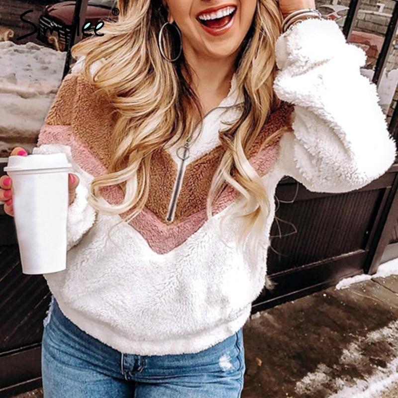 Simplee Casual Geometric Women Winter Coat Raglan Sleeve Patchwork Pullover Plus Size Streetwear Ladyautumn Winter Fur Outwear