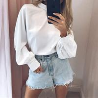 GGTL826 Chiffon Solid Color T Shirt Office Turtleneck Long Sleeve Blouse Tops Three Quarter