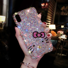 Luxury Female Flash Fine Diamond Phone Case for iPhone 7 8 Plus XR XS Max Fhx 16a girlg Flash PC Case for iPhone 11 Pro Max case