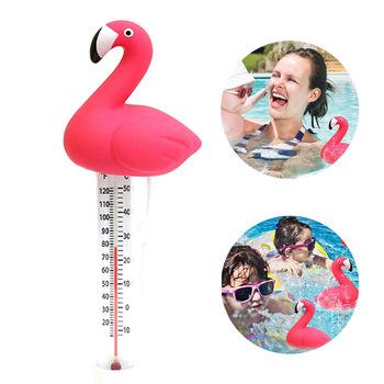 Nowy pływający basen termometr miernik temperatury wody Cartoon Flamingo termometry z ciągiem do basenów spa tanie i dobre opinie Other Floating Pool Thermometer