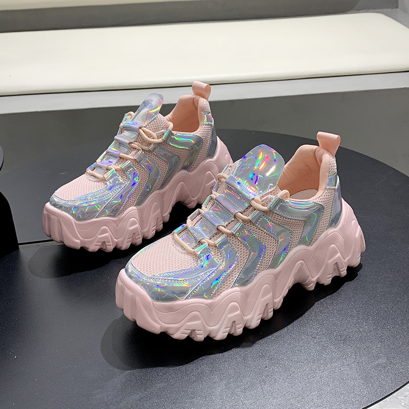 Chunky Sneakers Shoe Shiny Colorful Women Thick-Bottom Breathable Casual Zapatos-De-Mujer title=