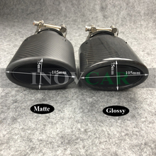 Buy 1 PCS Oval Slanted  Akra Povic Car Exhaust Tips Carbon Fiber Exhausts Tip Car Stainless Black Muffler Pipe for BMW Car Styling directly from merchant!