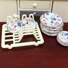 1/12 domek dla lalek miniaturowe akcesoria Mini stojak na naczynia imitacja wyposażenia półka kuchenna do przechowywania zabawki modele dla lalek wystrój domu