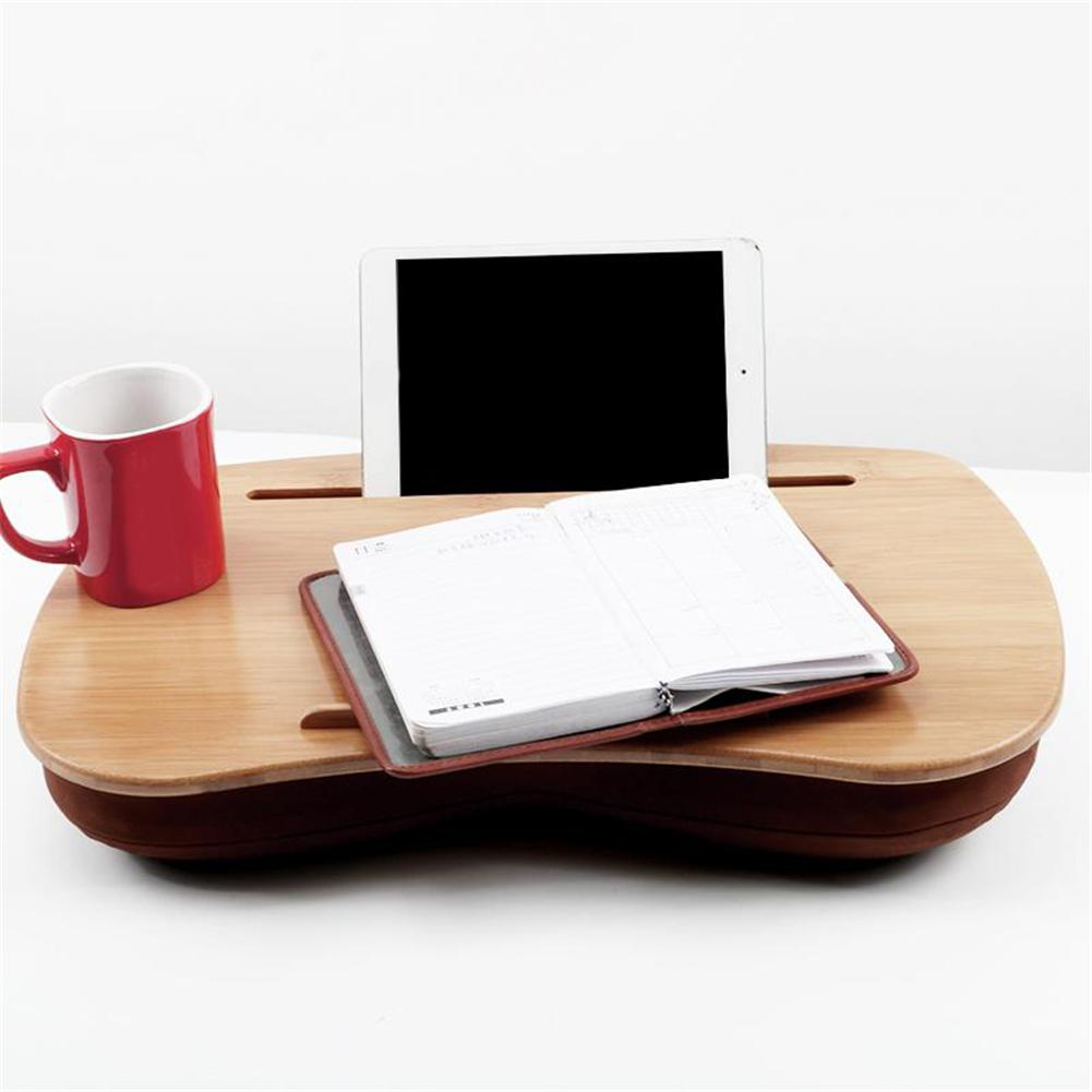 Laptop Table Multifunction Knee Lap Bamboo Desk For Mini Computer Phone Flip Portable Outdoor Headrest Office Home Nap Pillow