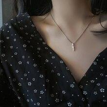 Женская цепочка до ключицы циркониевый камень ожерелье молния