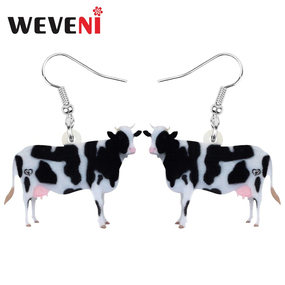 WEVENI Acrylic Dairy Cattle Cow Earrings Drop Dangle Jewelry Farm Animal For Women Girls Teens Kids Party Charm Gift Accessories