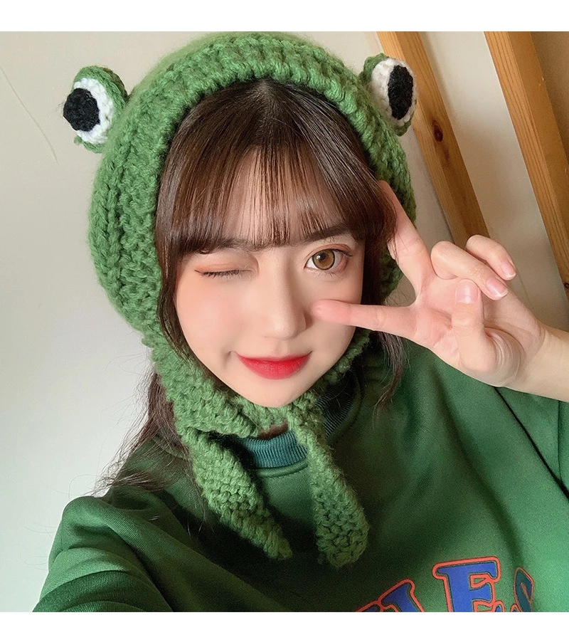 Lovely Christmas Frog Hat Beanies Knitted Winter Hats Solid Hip-hop Skullies Knit Bonnet Cap Costume Accessory Gifts Warm Winter