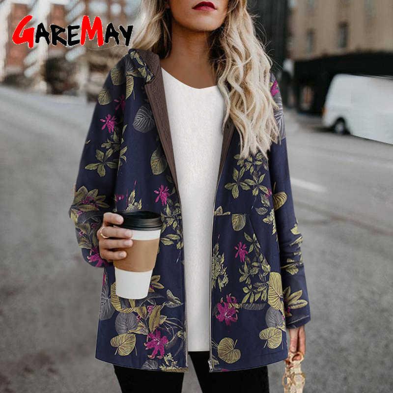 Artı boyutu kadın ceket peluş ceket kadın rüzgarlık kış sıcak dış giyim çiçek baskı kapşonlu cepler Vintage boy mont