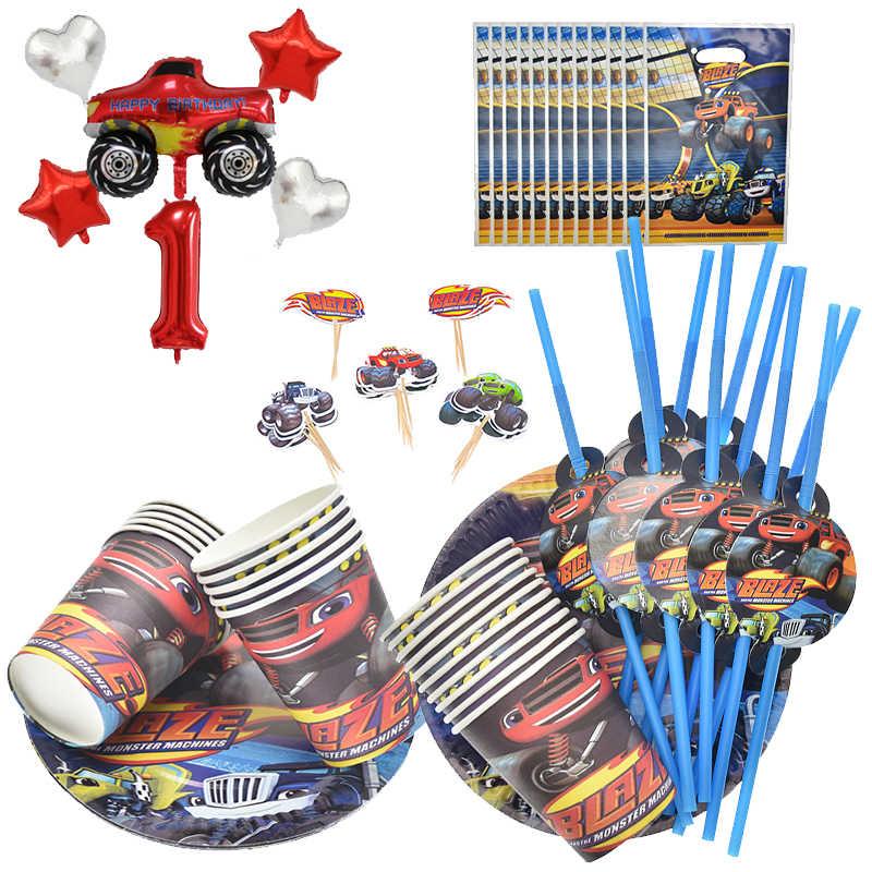 Hot Blaze Monster Machines Ontwerp Deco Cups Platen Kids Gunsten Baby Douche Gerechten Glas Vlaggen Verjaardagsfeestje Servies Set