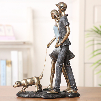 Couple Walking With Dog Handmade Resin Statue 5