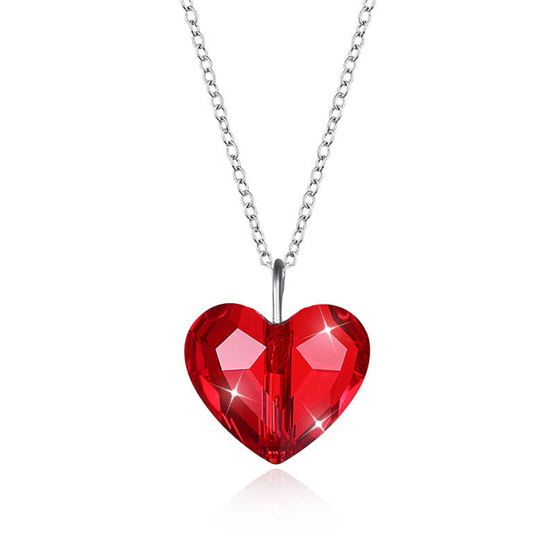 BAFFIN Romantic Heart Bead Necklace Pendant Colorful Crystals From Swarovski For Women Wedding Jewelry Silver Color Chain Collar