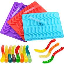 20 cavidade silicone gummy snake worms molde de chocolate açúcar doces geléia moldes de tubo de gelo bandeja molde bolo ferramentas de decoração